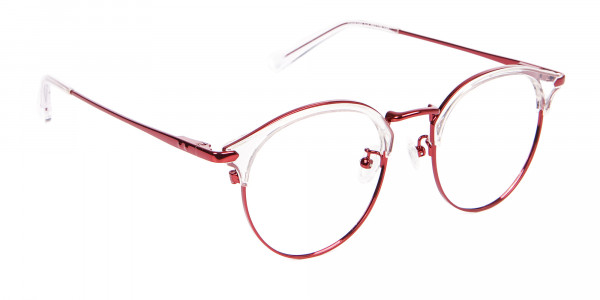 New Browline Round in Crystal & Red-2