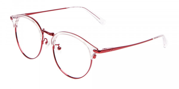 New Browline Round in Crystal & Red-3