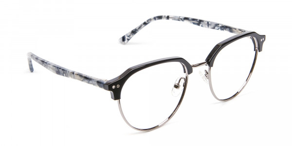 Metal Frame Browline Glasses - 2