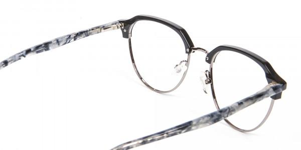 Metal Frame Browline Glasses - 5