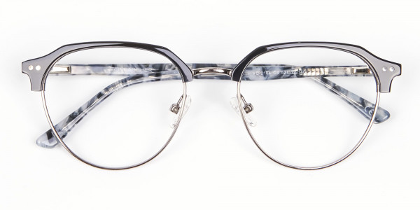 Metal Frame Browline Glasses - 6