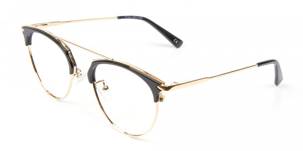 Black and Gold No-Nose Bridged Glasses - 3