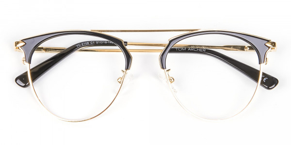 Black and Gold No-Nose Bridged Glasses - 6