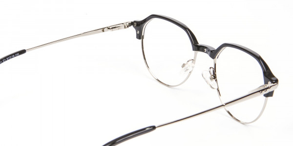 Unusual Shaped Glasses Black & Silver  - 5