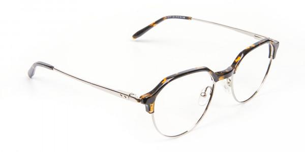 Havana & Tortoiseshell Browline Style Glasses - 2
