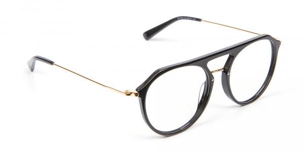 Delicate Designer Double-Bridged Glasses in Black and Gold - 2