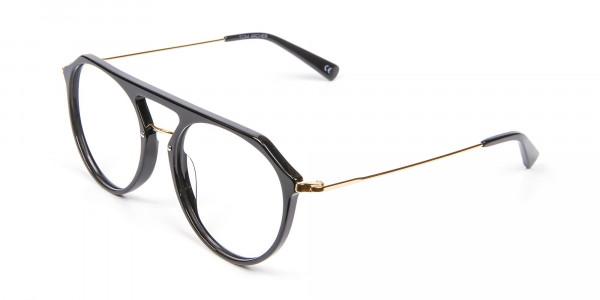 Delicate Designer Double-Bridged Glasses in Black and Gold - 3