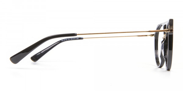 Delicate Designer Double-Bridged Glasses in Black and Gold - 4