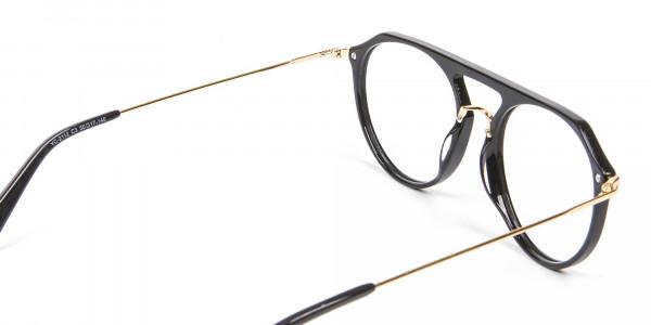 Delicate Designer Double-Bridged Glasses in Black and Gold - 5