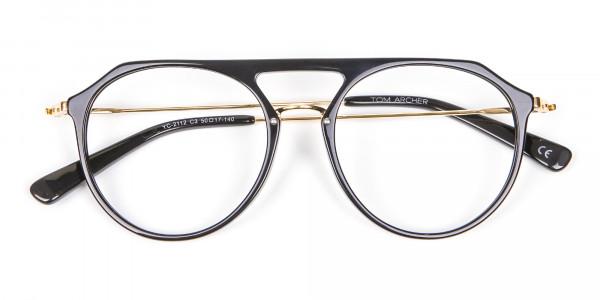 Delicate Designer Double-Bridged Glasses in Black and Gold - 6