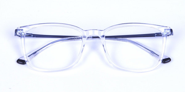 Crystal Clear Glasses with Royal Blue Temple
