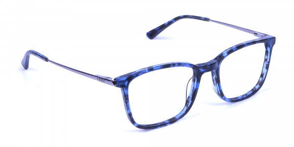 Men Women Rectangular Frame Blue Tortoise-2