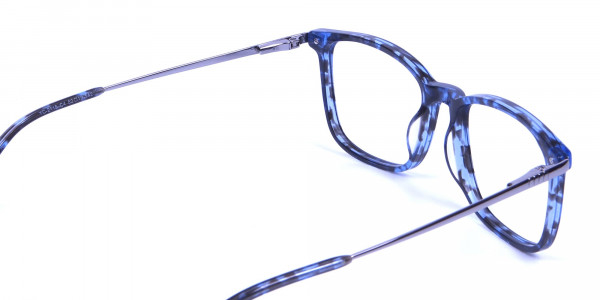 Men Women Rectangular Frame Blue Tortoise-5
