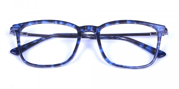 Men Women Rectangular Frame Blue Tortoise-6