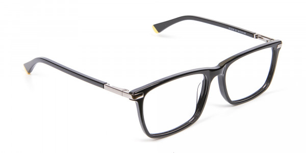 Black Rectangular Glasses with Yellow Accent - 2