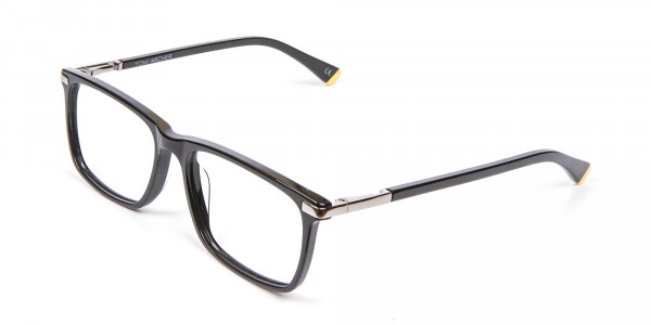 Black Rectangular Glasses with Yellow Accent - 3