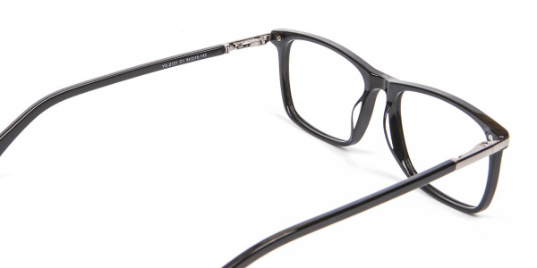 Black Rectangular Glasses with Yellow Accent - 5
