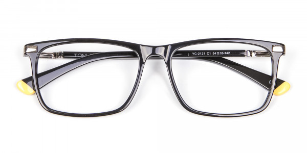 Black Rectangular Glasses with Yellow Accent - 6