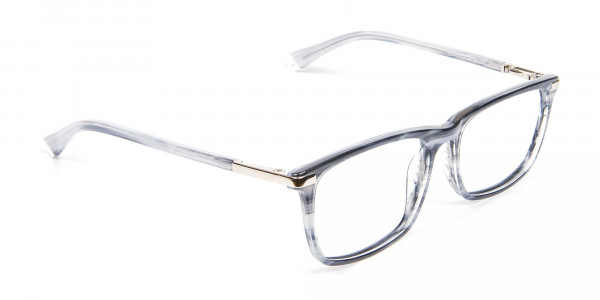 Rectangular Glasses in Grey and Blue - 2