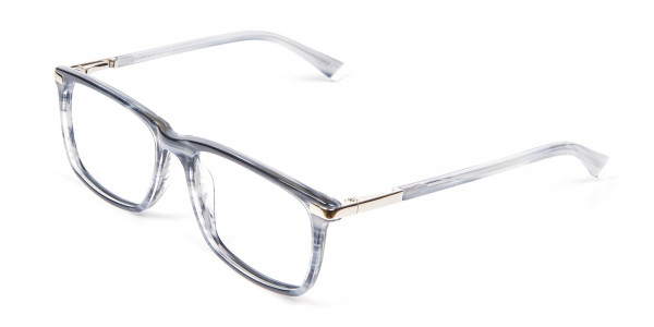 Rectangular Glasses in Grey and Blue - 3