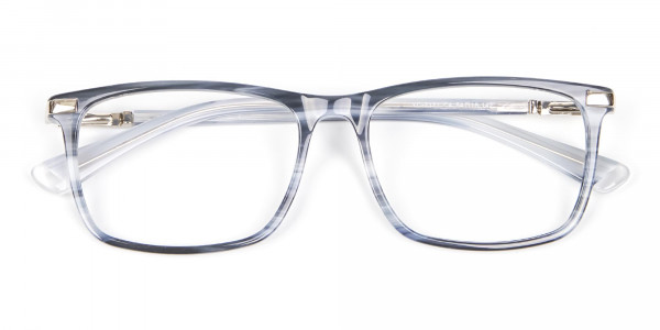 Rectangular Glasses in Grey and Blue - 6
