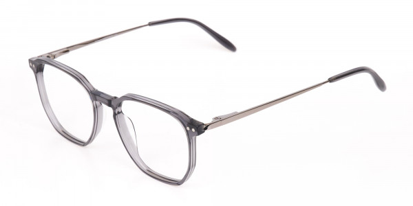 Silver Grey Geometric Eyeglasses Frame Unisex-3