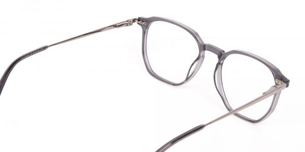 Silver Grey Geometric Eyeglasses Frame Unisex-5