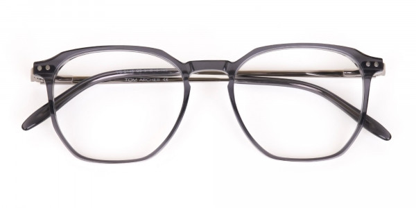 Silver Grey Geometric Eyeglasses Frame Unisex-7