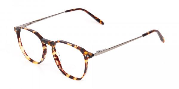 Tortoise Geometric Glasses Frame Unisex-3
