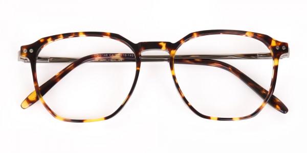Tortoise Geometric Glasses Frame Unisex-6