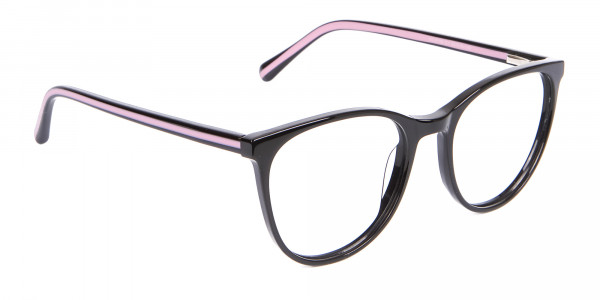Retro Round Glasses in Black & Pink with Stripes - 2