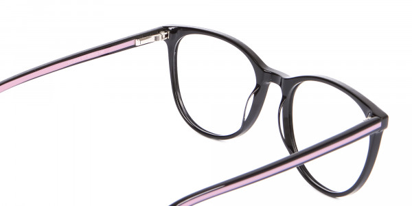 Retro Round Glasses in Black & Pink with Stripes - 5