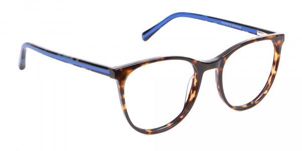 Fashion Round Frame in Tortoiseshell & Blue - 2