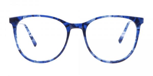 Fine-Detailed Round Frame in Blue Tortoiseshell - 1