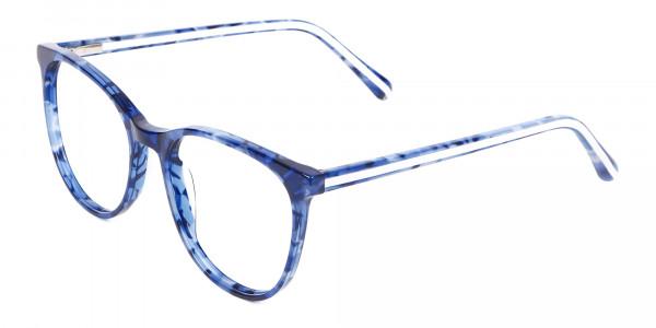 Fine-Detailed Round Frame in Blue Tortoiseshell - 3