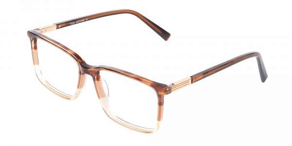 Mixed Material Textured Brown Frame in Rectangle - 3
