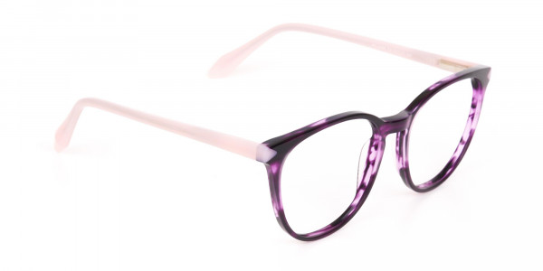 Marble Purple and Nude Pink Round glasses Women-2