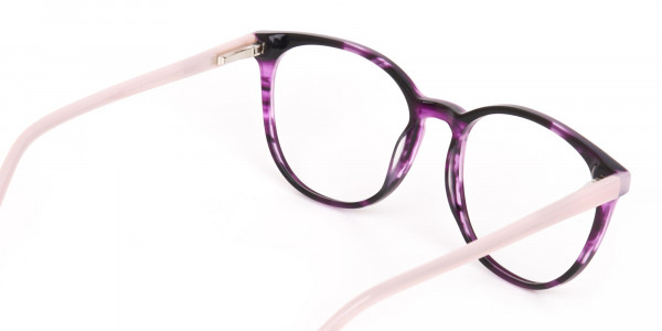 Marble Purple and Nude Pink Round glasses Women-5