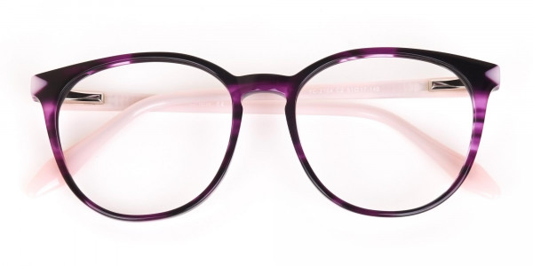 Marble Purple and Nude Pink Round glasses Women-7