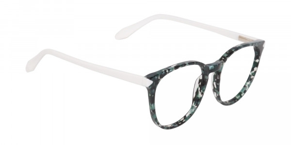 Emerald Green, Tortoise and White Round Glasses-2