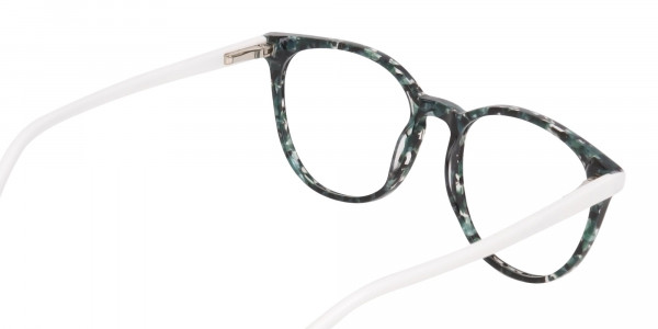 Emerald Green, Tortoise and White Round Glasses-5