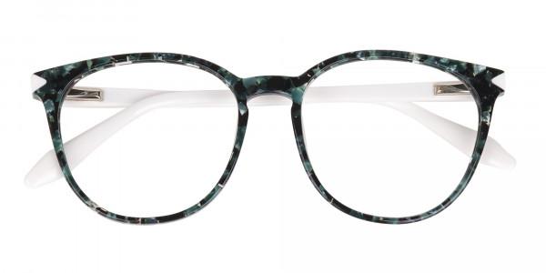 Emerald Green, Tortoise and White Round Glasses-6