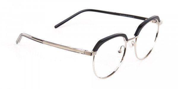 Black Silver Browline Glasses in Metal Unisex-2