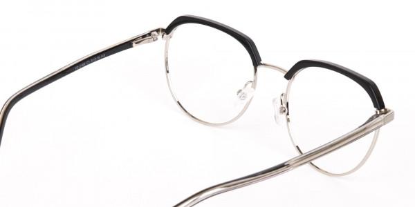 Black Silver Browline Glasses in Metal Unisex-5