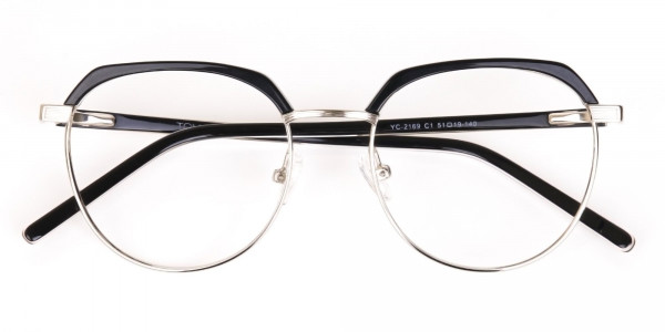 Black Silver Browline Glasses in Metal Unisex-7