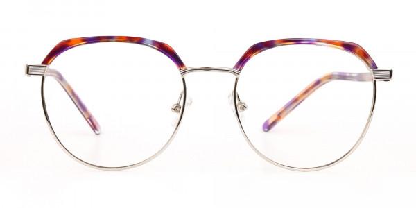 Passion Orange, Purple & Silver Browline Glasses-1