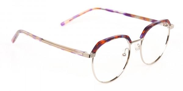 Passion Orange, Purple & Silver Browline Glasses-2