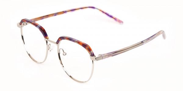 Passion Orange, Purple & Silver Browline Glasses-3