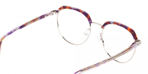 Passion Orange, Purple & Silver Browline Glasses-5