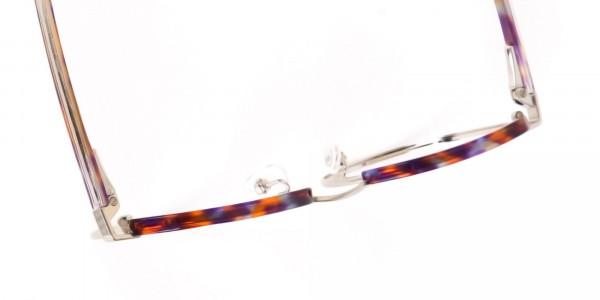 Passion Orange, Purple & Silver Browline Glasses-6